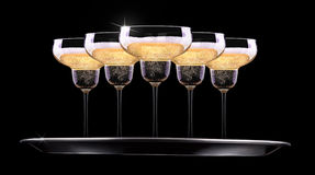 银色盘子用香槟 库存图片