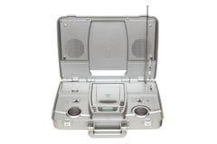 银色立体声CD的卡拉OK演唱收音机 免版税库存照片