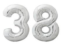 银色第38三十八被隔绝的做了可膨胀的气球在白色 库存照片