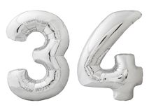 银色第34三十四被隔绝的做了可膨胀的气球在白色 库存照片