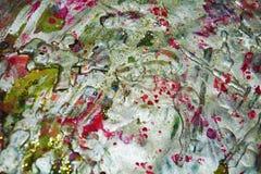 银色紫色黑暗的桃红色绿色生动的蜡颜色,紫色油漆结构,绘抽象创造性的背景 库存图片