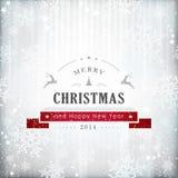 银色红色圣诞卡 免版税库存图片