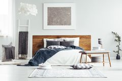 银色绘画在设计师卧室 免版税库存图片