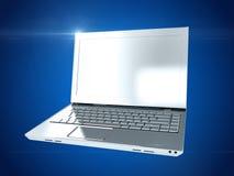 银色膝上型计算机 3d翻译 库存照片