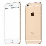 银色苹果计算机iPhone 6S大模型有一点转动了正面图 免版税库存照片