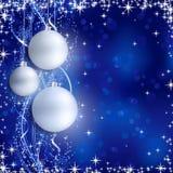 银色蓝色圣诞节背景 库存图片