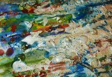银色蓝色橙色背景,闪耀的泥泞的蜡状的油漆,对比塑造在淡色颜色的背景 库存照片