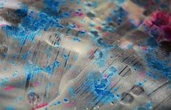 银色蓝色黑暗的水彩背景,蜡状的抽象纹理 库存照片