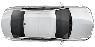 银色车的顶视图