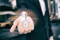 银色钥匙的综合图象与圆环的 库存照片