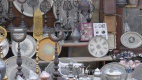 银色铜罐平底锅在商店, safranbolu,火鸡 影视素材