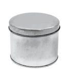 银色锡罐设计产品包裹 免版税图库摄影