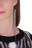 银色长的耳环 库存照片