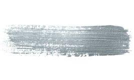 银色闪烁画笔冲程或抽象轻拍污迹与污点纹理在白色背景 被隔绝的闪烁的闪耀的sil 免版税图库摄影