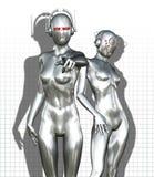 银色靠机械装置维持生命的人妇女 皇族释放例证