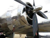 银色B29轰炸机引擎 免版税库存图片