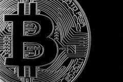 银色bitcoin物理 图库摄影