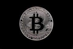银色bitcoin物理 免版税库存图片