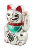 银色Maneki Neko日本幸运的猫 库存照片