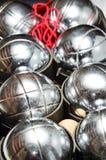 银色petanque集合 库存照片