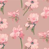 银莲花属样式。手图画 免版税库存图片
