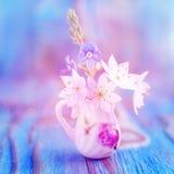银莲花属,在微型,矮小水罐的白头翁花束  宏观特写镜头照片,软的焦点 土气色的木背景 免版税图库摄影