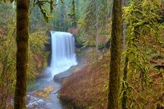 银落在瀑布的国家公园优美的风景 库存照片