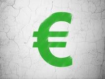 银行业务概念:在墙壁背景的欧元 图库摄影