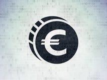 银行业务概念:在数字资料纸背景的欧洲硬币 库存图片