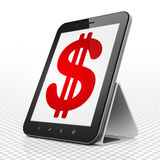 银行业务概念:有美元的片剂计算机在显示 图库摄影