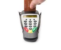 银行业务终端用现有量和看板卡 免版税库存照片