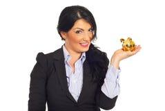 银行企业愉快的藏品贪心小的妇女 免版税库存照片