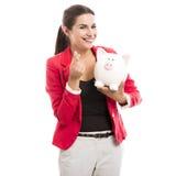 银行企业贪心妇女 免版税库存图片