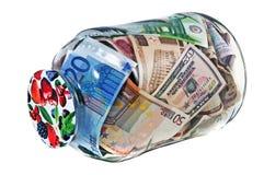 银行另外充分的玻璃瓶子货币名词性&# 免版税图库摄影