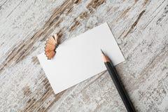 银行名片和铅笔 免版税库存照片