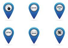 银行和为地图设置的财务标记 库存照片