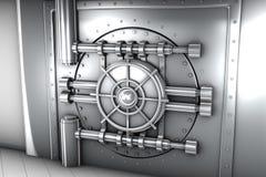 银行地下室门的例证,正面图 免版税库存图片