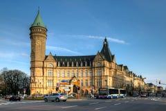 银行大楼城市卢森堡节省额状态 免版税库存照片