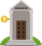 银行大楼的以图例解释者 库存照片
