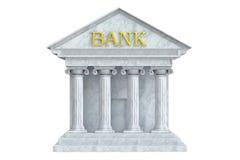 银行大楼, 3D翻译 免版税库存照片