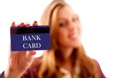 银行女实业家看板卡 免版税库存照片