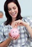 银行女实业家货币贪心节省额 库存图片