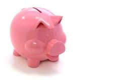 银行愉快的贪心粉红色 免版税图库摄影