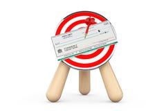 银行支票射箭目标的中心 库存图片