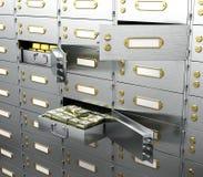 银行是与金子和金钱的一个安全开始营业细胞 库存照片
