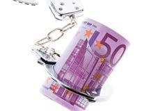 银行欧元把附注扣上手铐 库存照片