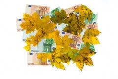 银行欧元离开混合物附注 库存照片
