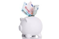 银行欧元贪心槽白色 免版税库存图片