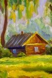 银行湖山水画的木房子 库存照片
