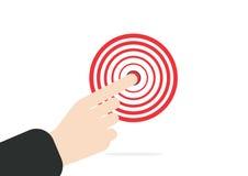 银行生意人检查现有量符号 指向目标概念的右食指在白色背景 向量例证